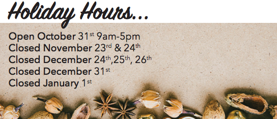 Holiday Hours for 2017 at Options