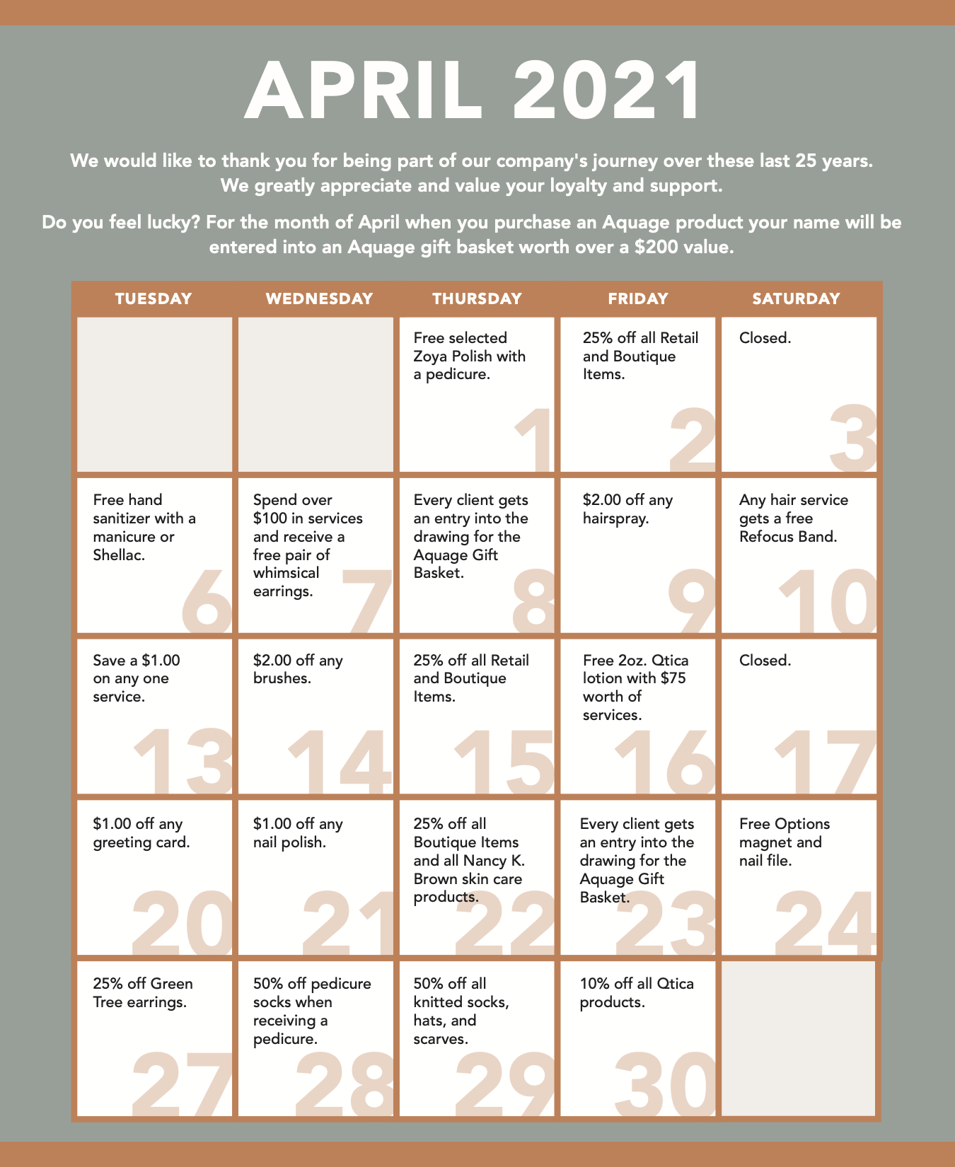 April special calendar
